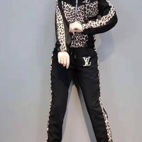 """LOUIS VUITTON""Women's Leisure  Fashion Letter Leopard Printing Long Sleeve Trousers Two-Piece Casual Wear"