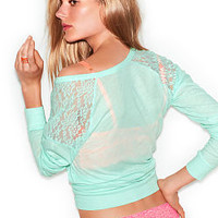 Lace Shoulder Raglan Tee - PINK - Victoria's Secret