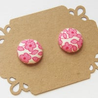 Pink and White Floral Hypoallergenic Earring Studs - Sensitive Ears