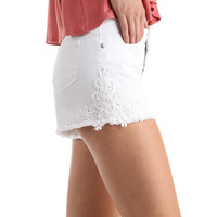 FLORAL CROCHET DENIM SHORTS - WHITE