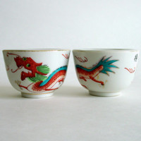 Vintage Red Dragon Tea or Sake Cups, Matching Teacups, Handpainted Set of Two, Pair, Oriental Asian Chinese Japanese, Signed, Gold Accents