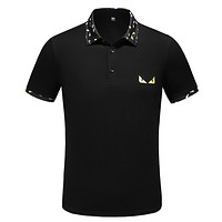 FENDI Summer Fashion Casual Embroidery Lapel T-Shirt Top Tee Black
