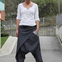 Denim Harem Pants, Harem Pants, Drop Crotch Pants, Drop Crotch Denim Pants, Unisex Pants, Boho Pants, Denim Trousers, Loose Pants P11717