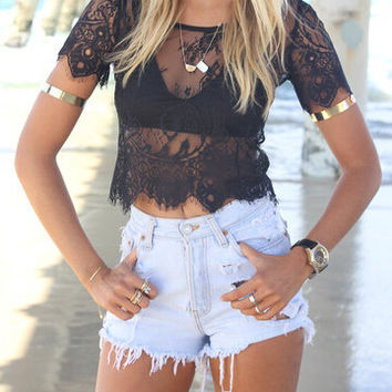 Black Short Sleeve Embroidered Sheer  Lace Crop Top