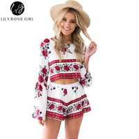 Boho Floral Print Sexy Backless Flared Sleeve Two Pieces Women Jumpsuit Romper Summer Elegant Short Ovaralls Beach Playsuit