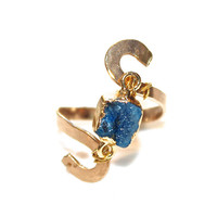 Blue Druzy Ring Blue Drusy Ring Modern Ring Wedding Ring Gold Ring Handcrafted Ring Druzy Jewelry Hammered Ring Crystal Ring Drussy Ring