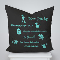 Disney Lesson Quote Square Pillow Cover, Pillow Case, Cushions Pillow Cover, Home Decor Pillow, Bed Pillow