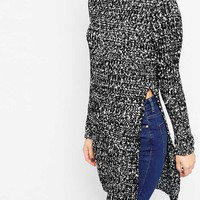 ASOS Longline Tunic In Rib With Side Splits In Mono Tweedy Yarn