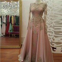 2017 abendkleider Long Sleeve Evening Dress Long Prom Dresses with Gold Lace Beadings Floor Length Satin Formal Party Gowns