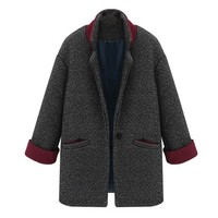 ZLYC Women's Wool Blend Coat with Contrast Cuffs and Long Notch Lapels