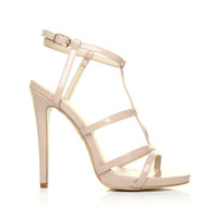 KENDRA Nude Patent Leather Caged High Heel Strappy Sandals