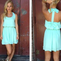 Mint Sleeveless Dress with Double Bow Back Detail