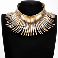 Sparkling Silver & Golden Chunky Bib Necklace