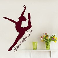 Wall Decals Vinyl Decal Sticker Interior Design Gym Decor Sport Girl Gymnast Ballerina Quote I Dance Therefore I Am Ballet Dance Studio Girl Room Decor Kg865
