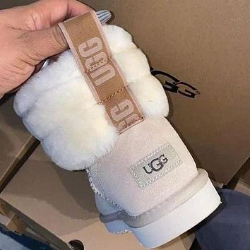 UGG Girls Casual Half Boots Trending Shoes White