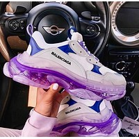 Alwayn Balenciaga daddy shoes, retro retro color matching, couple casual shoes, high-end platform sneakers Purple