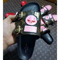LV Louis Vuitton Women Fashion Flamingo Slipper Shoes