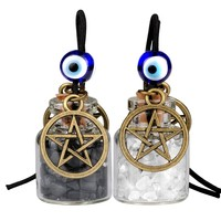 Star Magic Pentacle Small Car Charms Home Decor Bottles Quartz Black Obsidian Protection Amulets
