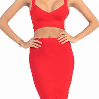 Cleopatra 2 Piece Bandage set in Red