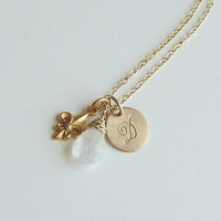 14K Gold Chain Initial Charm Necklace . Rainbow Moonstone Gemstone . Fleur de lis Charm . Hand stamped Personalized Gift