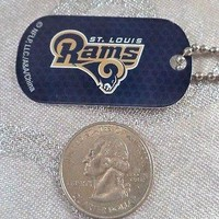 NFL St Louis Rams Black Logo Dog tag Key chain Backpack Gift Party
