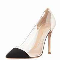 Gianvito Rossi Grosgrain Plexi Illusion Pump