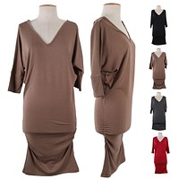 V-Neck Dolman 3/4 Sleeve Long Stretch Tunic Knit Sweater Mini Pullover Dress