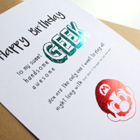 Happy Birthday Geek card Mario Bros