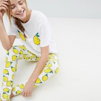 ASOS Embroidered Lemon Tee and Legging Pyjama Set at asos.com