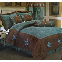 Turquoise Texas Star Western Rustic Star Luxury Comforter - 7 Pieces Set