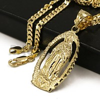 """Solid Brass Gold Diamond Cut Our Lady of Guadalupe Halo Pendant w/ 5mm 24"""" Concave Cuban Chain B05G"""