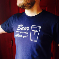 Men's Beer shirt, size medium beer good for what ales you t-shirt