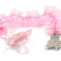 Adult baby pacifier clip - ABDL soother clip - DDLG dummy chain pink ruffles