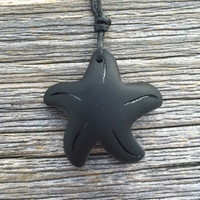 Unisex Black Sea Glass Starfish Necklace Up Cycled  Guy Girl Boho Summer Surfer Beach Style by Wave of Life