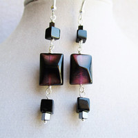 Purple & Black Agate Rectangles and Glass and Hematite Square Dangly Silver Earrings