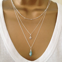 3 Silver Layering Necklaces Bead Arrow Gem