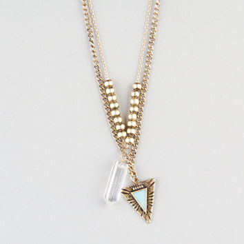 Full Tilt 2 Row Crystal/Arrow Necklace Gold One Size For Women 23537362101
