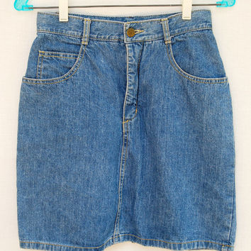 Vintage 80s 90s Guess Jeans Denim Mini Skirt High Waist S XS 26 28 Waist Light Wash