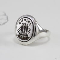 Antique Style Friendship Signet Ring, Sterling Silver Intaglio Rebus Signet Ring, Friendship Jewelry, Anniversary Gift