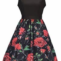 Women's Round Neck Sleevless Slim Cocktail Floral Casual Cute Mini Dress
