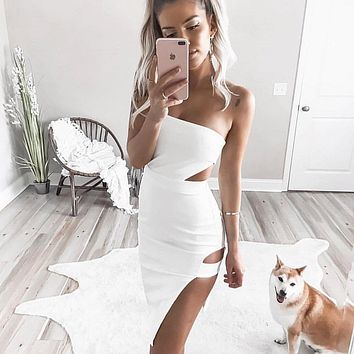 Temperament Fashion Hollow Split Solid Color Sleeveless Strapless Wrap Chest Mini Dress