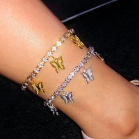 Butterfly Tennis Anklet Rhinestone Jewelry For Women Crystal Butterfly Pendant Anklet Beach Foot Chain Bracelet