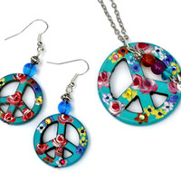 Peace Sign Earrings Hand Painted Colorful Flowers Boho Hippie Jewelry FREE SHIPPING