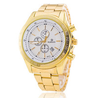 Good  Mens Boys Gold Band Strap Watch Best Gift watches-449