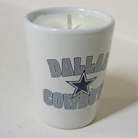 Dallas Cowboys Soy Candle White Shot Glass - CHOICE OF SCENT