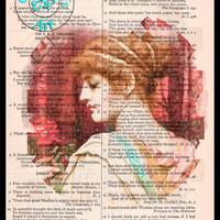 Choris A Summer Rose 1902 Pencil Drawing Beautifully Upcycled Vintage Dictionary Page Book Art Print