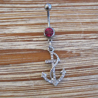 Belly Button Ring - Body Jewelry -Silver Rhinestone Anchor With Rope With Dark Pink Gem Stone Belly Button Ring