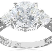 """Platinum Plated Sterling Silver """"100 Facets Collection"""" Cubic Zirconia Three-Stone Ring, Size 5"""
