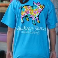 Floral Proud Pig Pocket Tee by SOUTHERN TREND {sapphire blue}