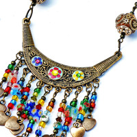 Colorful Boho Bib Necklace Hand Painted Flowers Bohemian Indian Jewelry FREE SHIPPING
